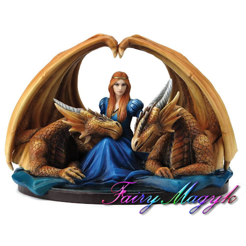 Anne Stokes Fairy and 2 Dragons Fierce Loyalty